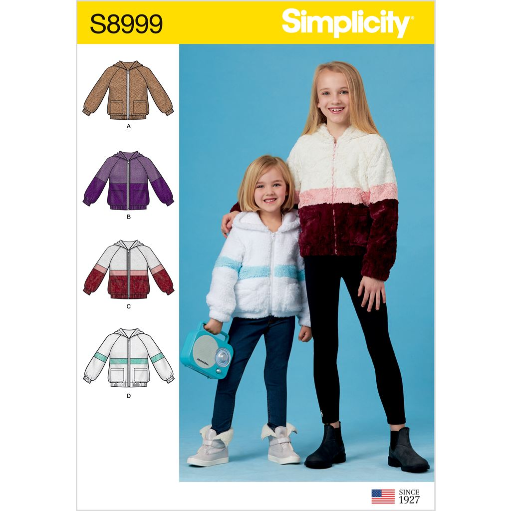 Simplicity Sewing Pattern S8999 Childrens and Girls Knit Hooded Jacket 8999 Image 1 From Patternsandplains.com