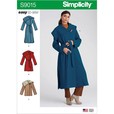 Simplicity Sewing Pattern S9015 Misses and Misses Petite Coat with Belt 9015 Image 1 From Patternsandplains.com