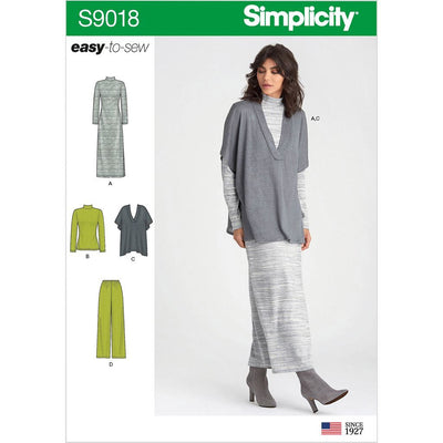 Simplicity Sewing Pattern S9018 Misses Pants Knit Vest Dress or Top 9018 Image 1 From Patternsandplains.com