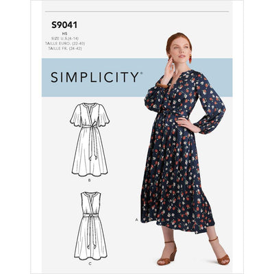 Simplicity Sewing Pattern S9041 Misses Front Tie Dress In Three Lengths 9041 Image 1 From Patternsandplains.com