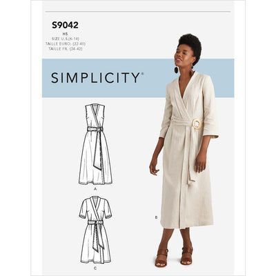 Simplicity Sewing Pattern S9042 Misses Wrap Dresses With Waist Tie 9042 Image 1 From Patternsandplains.com