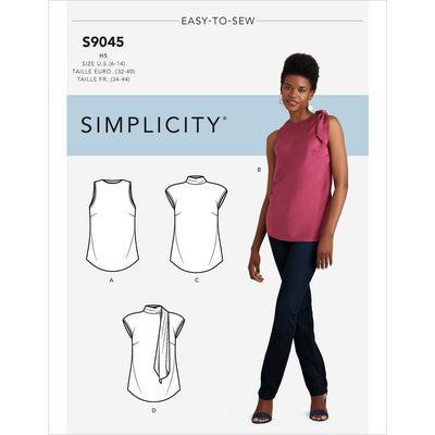 Simplicity Sewing Pattern S9045 Misses Tops With Optional Neck Ties 9045 Image 1 From Patternsandplains.com