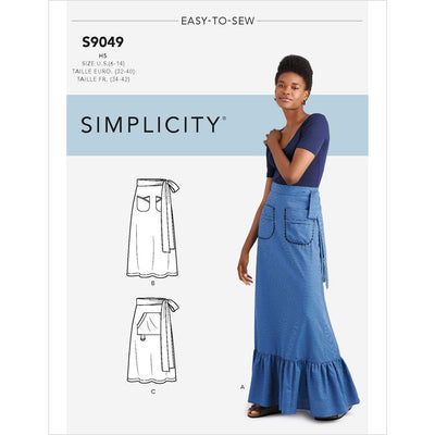 Simplicity Sewing Pattern S9049 Misses Back Wrapped Skirt With Pockets 9049 Image 1 From Patternsandplains.com