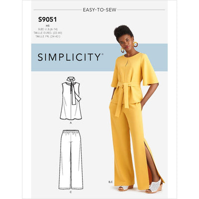 Simplicity Sewing Pattern S9051 Misses Tops Belt or Scarf and Pants 9051 Image 1 From Patternsandplains.com