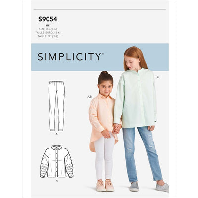 Simplicity Sewing Pattern S9054 Childrens and Girls Oversized Tops 9054 Image 1 From Patternsandplains.com