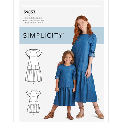 Simplicity Sewing Pattern S9057 Childrens and Misses Dresses 9057 Image 1 From Patternsandplains.com
