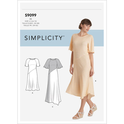 Simplicity Sewing Pattern S9099 Misses Dress With Length Sleeve and Fabric Variations 9099 Image 1 From Patternsandplains.com