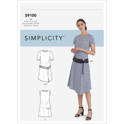 Simplicity Sewing Pattern S9100 Misses and Womens Dress With Skirt and Sleeve Variations and Belt 9100 Image 1 From Patternsandplains.com