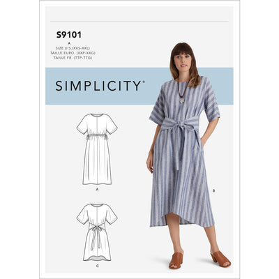 Simplicity Sewing Pattern S9101 Misses Pullover Dresses In Two Lengths 9101 Image 1 From Patternsandplains.com