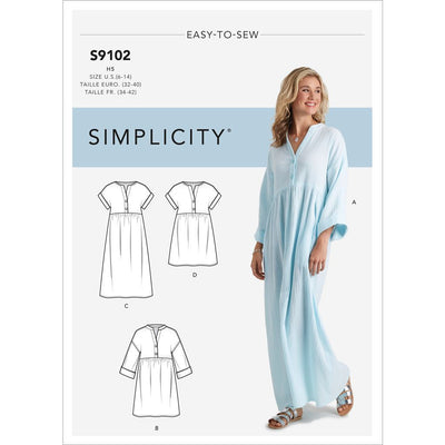 Simplicity Sewing Pattern S9102 Misses Caftan and Dresses 9102 Image 1 From Patternsandplains.com