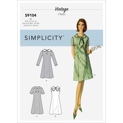 Simplicity Sewing Pattern S9104 Misses Vintage Dresses With Sleeve and Neckline Variation 9104 Image 1 From Patternsandplains.com
