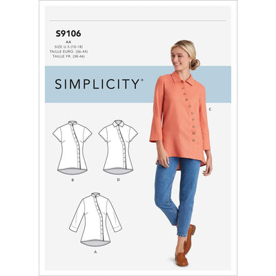 Simplicity Sewing Pattern S9106 Misses and Womens Button Front Shirt 9106 Image 1 From Patternsandplains.com