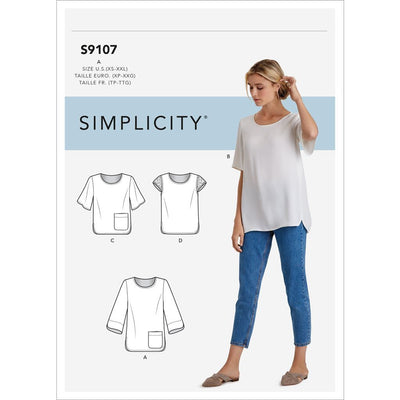 Simplicity Sewing Pattern S9107 Misses Tops With Sleeve and Length Variation 9107 Image 1 From Patternsandplains.com