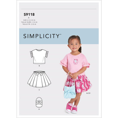 Simplicity Sewing Pattern S9118 Toddlers Tops Skirts and Purse 9118 Image 1 From Patternsandplains.com