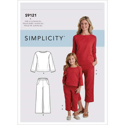 Simplicity Sewing Pattern S9121 Childrens and Misses Top and Pants 9121 Image 1 From Patternsandplains.com