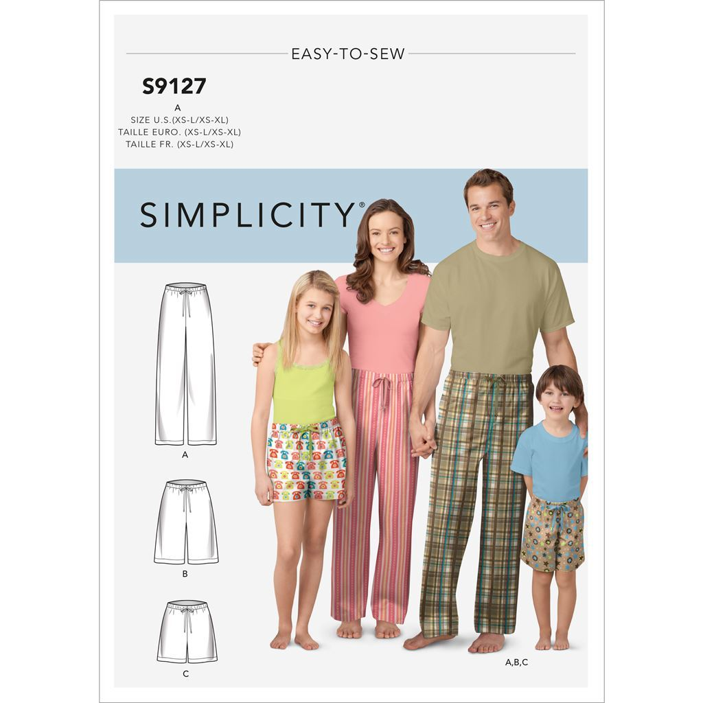 Simplicity Sewing Pattern S9127 Unisex Sleepwear 9127 Image 1 From Patternsandplains.com