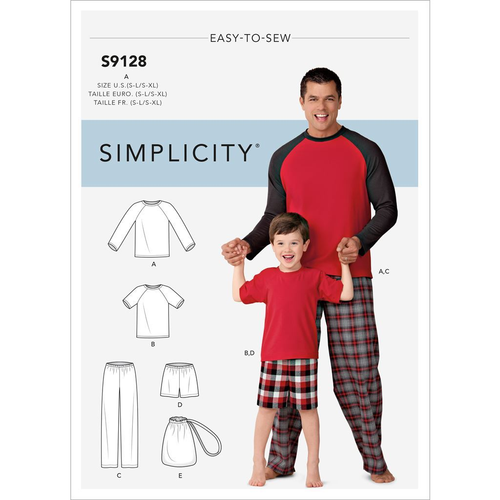 Simplicity Sewing Pattern S9128 Mens and Boys Sleepwear 9128 Image 1 From Patternsandplains.com