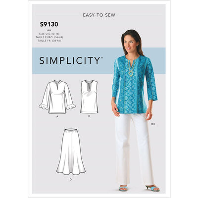 Simplicity Sewing Pattern S9130 Misses and Womens Tops and Bottoms 9130 Image 1 From Patternsandplains.com