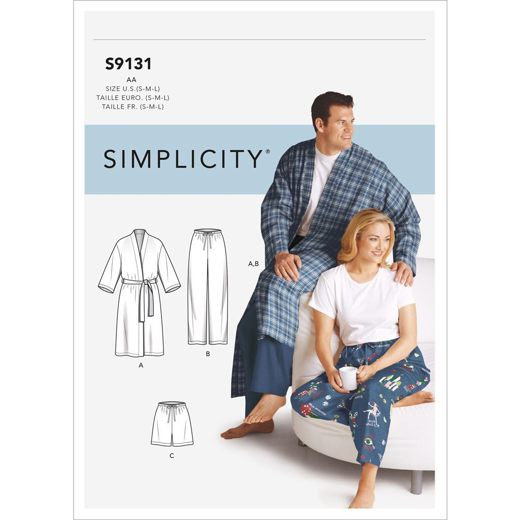 Simplicity Sewing Pattern S9131 Unisex Sleepwear 9131 Image 1 From Patternsandplains.com