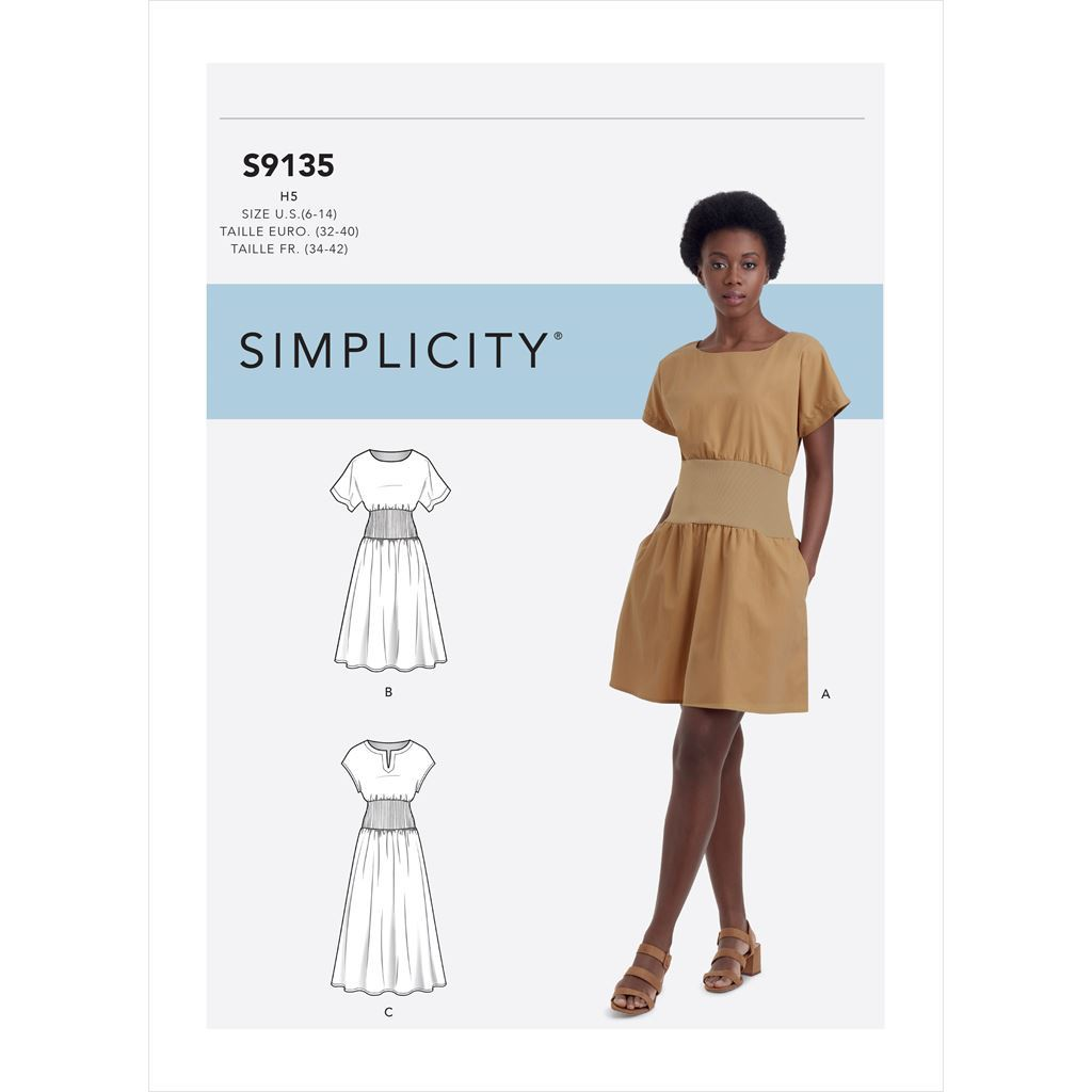 Simplicity Sewing Pattern S9135 Misses Dress With Knit Midriff 9135 Image 1 From Patternsandplains.com