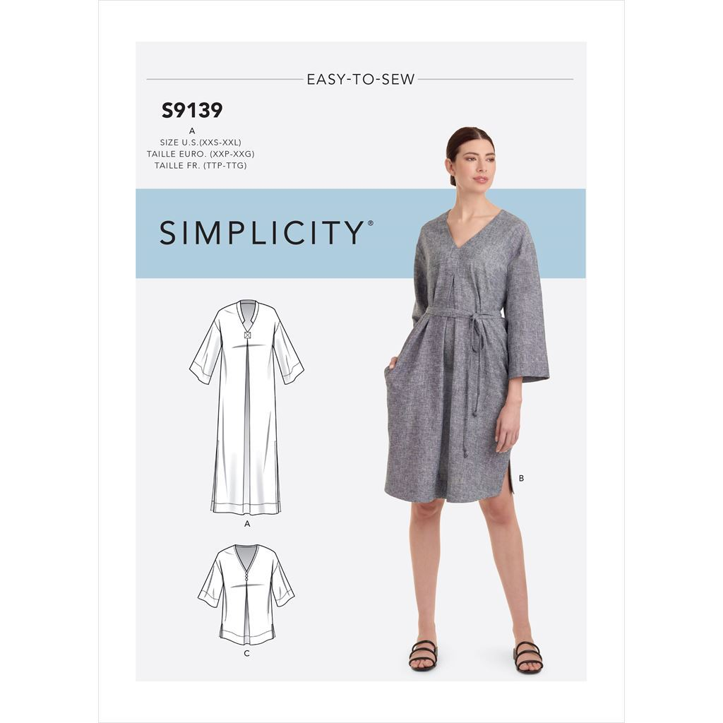 Simplicity Sewing Pattern S9139 Misses Relaxed V Neck Dresses 9139 Image 1 From Patternsandplains.com