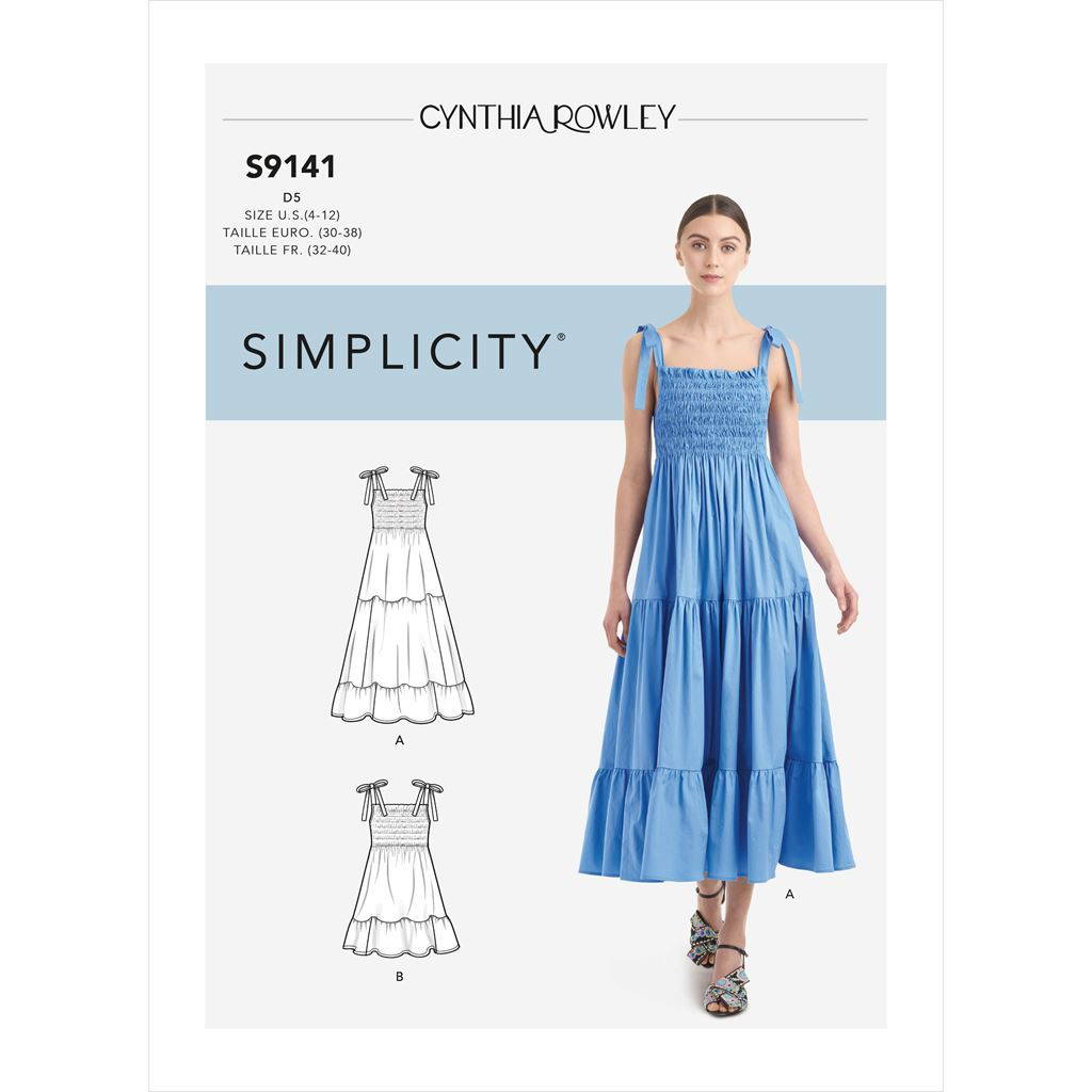 Simplicity Sewing Pattern S9141 Misses Dress With Shirred Bodice 9141 Image 1 From Patternsandplains.com