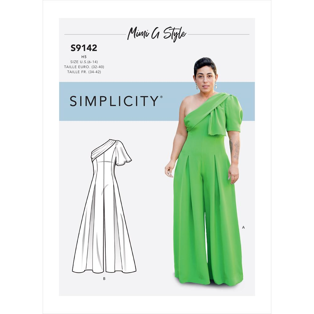 Simplicity Sewing Pattern S9142 Misses Jumpsuit With One Shoulder Drape 9142 Image 1 From Patternsandplains.com