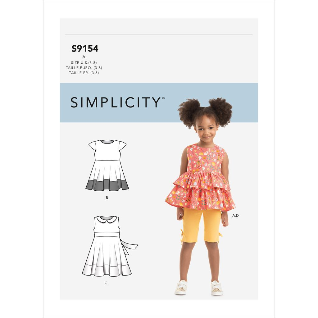Simplicity Sewing Pattern S9154 Childrens Dress Top Tunic and Leggings 9154 Image 1 From Patternsandplains.com