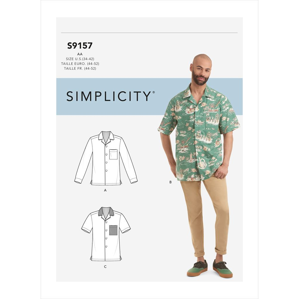 Simplicity Sewing Pattern S9157 Mens Open Pointed Collar Shirts 9157 Image 1 From Patternsandplains.com