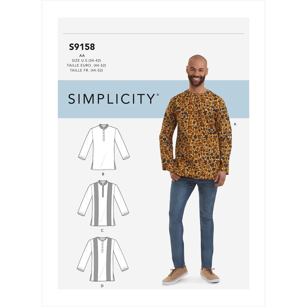 Simplicity Sewing Pattern S9158 Mens Half Buttoned Shirts 9158 Image 1 From Patternsandplains.com