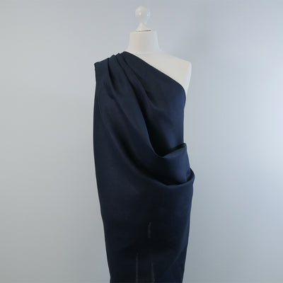 Skea Navy Pure Linen Woven Fabric Night Time Mannequin Wide Image from patternsandplains.com