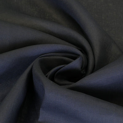 Skea Navy Pure Linen Woven Fabric Night Time Swirl Image from patternsandplains.com