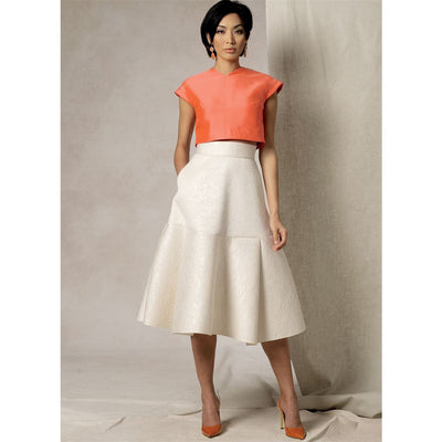 Vogue Pattern V1486 Misses Crop Top and Flared Yoke Skirt 1486 Image 2 From Patternsandplains.com.jpg