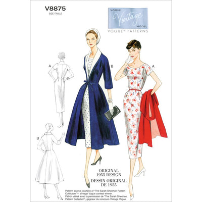 Vogue Pattern V8875 Misses Dress Belt Coat and Detachable Collar 8875 Image 1 From Patternsandplains.com