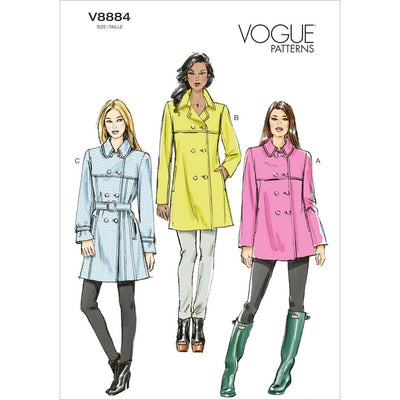 Vogue Pattern V8884 Misses Coat and Belt 8884 Image 1 From Patternsandplains.com