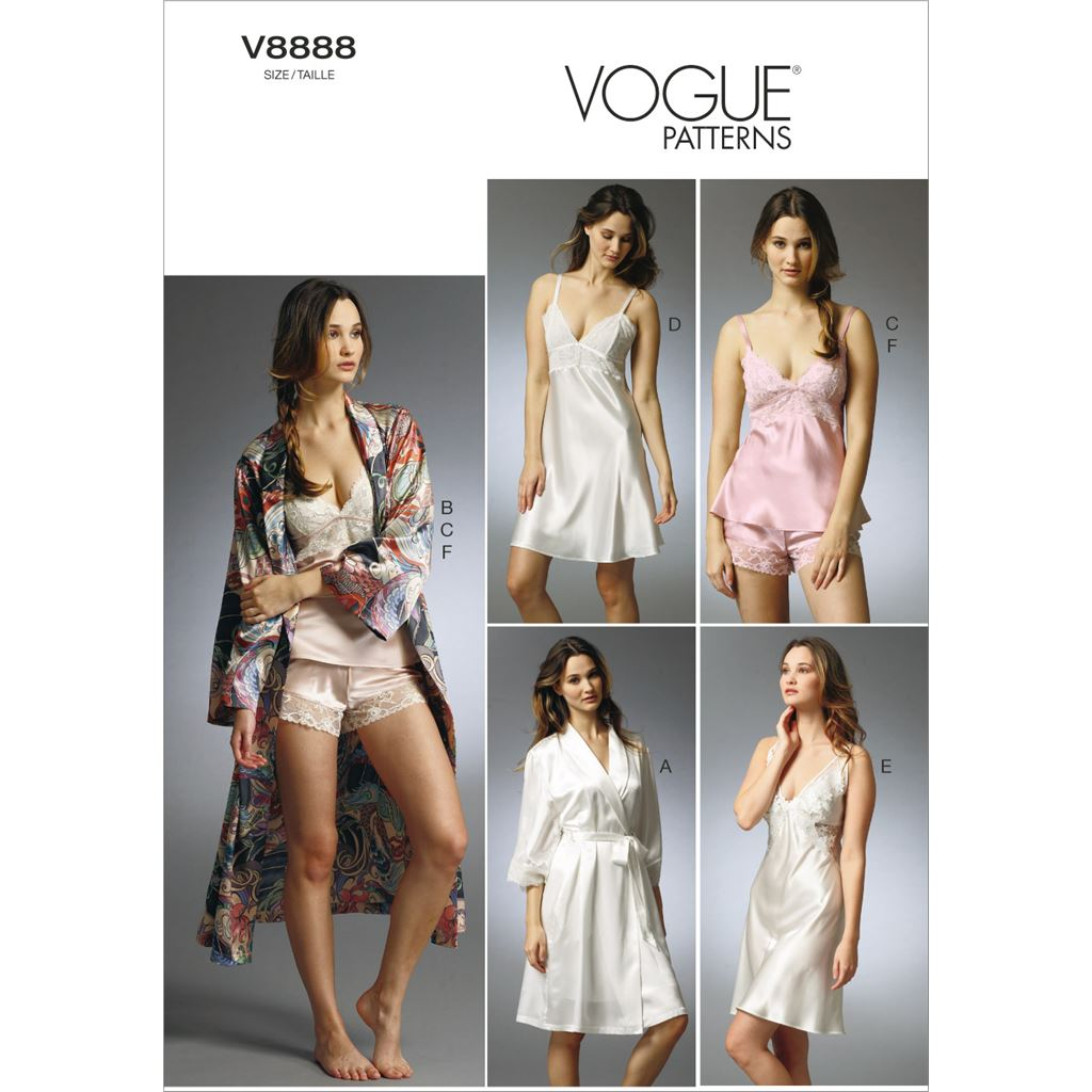 Vogue Pattern V8888 Misses Robe Slip Camisole and Panties 8888 Image 1 From Patternsandplains.com