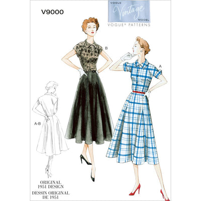 Vogue Pattern V9000 Misses Dress and Belt 9000 Image 1 From Patternsandplains.com