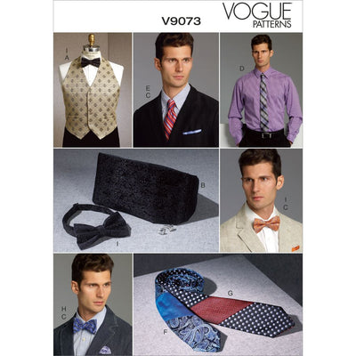 Vogue Pattern V9073 Mens Vest Cummerbund Pocket Square and Ties 9073 Image 1 From Patternsandplains.com