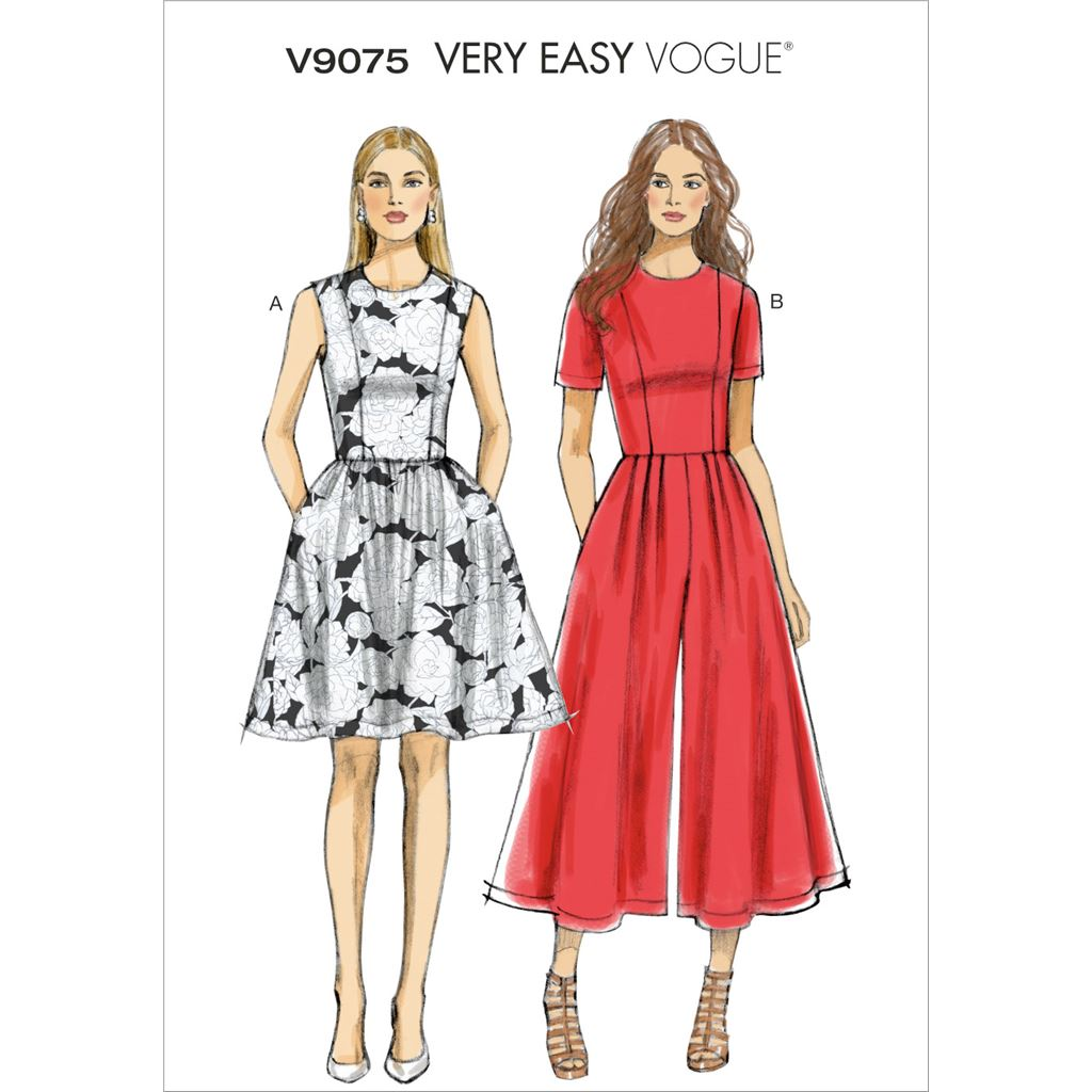 Vogue Pattern V9075 Misses Misses Petite Dress and Jumpsuit 9075 Image 1 From Patternsandplains.com