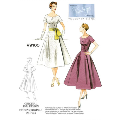 Vogue Pattern V9105 Misses Dress and Sash 9105 Image 1 From Patternsandplains.com