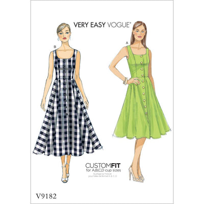 Vogue Pattern V9182 Misses Button Down Flared Skirt Dresses 9182 Image 1 From Patternsandplains.com