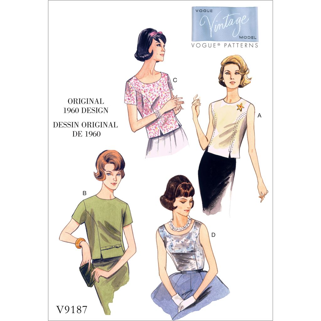 Vogue Pattern V9187 Misses Jewel or Scoop Neck Princess Seam Tops 9187 Image 1 From Patternsandplains.com