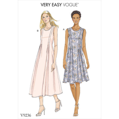 Vogue Pattern V9236 Misses Released Pleat Fit and Flare Dresses 9236 Image 1 From Patternsandplains.com