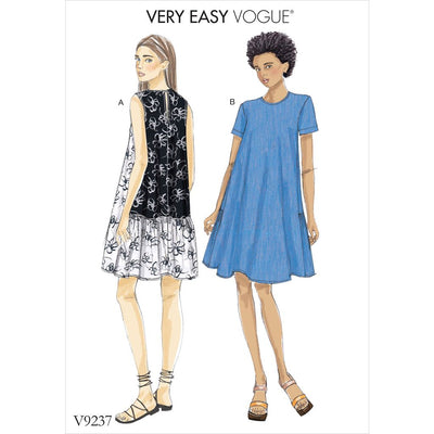 Vogue Pattern V9237 Misses A Line Back Ruffle Dresses 9237 Image 1 From Patternsandplains.com