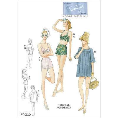 Vogue Pattern V9255 Misses Lined Halter Bra and Shorts and Square Neck Coverup with Pockets 9255 Image 1 From Patternsandplains.com