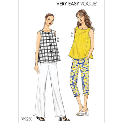Vogue Pattern V9258 Misses Sleeveless Tops with Pull On Pants 9258 Image 1 From Patternsandplains.com