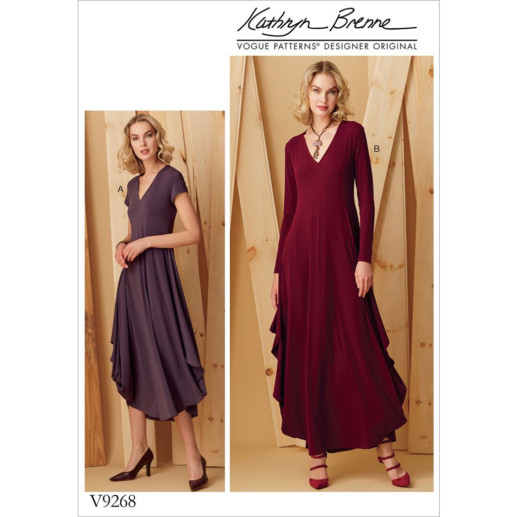 Vogue Pattern V9268 Misses Knit V Neck Draped Dresses 9268 Image 1 From Patternsandplains.com