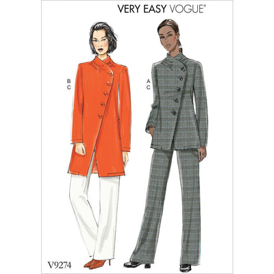 Vogue Pattern V9274 Misses Asymmetrical Lined Jacket and Pull On Pants 9274 Image 1 From Patternsandplains.com