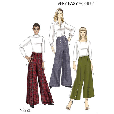Vogue Pattern V9282 Misses High Waisted Pants with Button Detail 9282 Image 1 From Patternsandplains.com