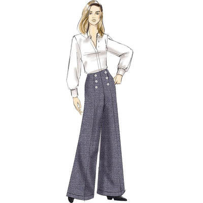 Vogue Pattern V9282 Misses High Waisted Pants with Button Detail 9282 Image 4 From Patternsandplains.com.jpg